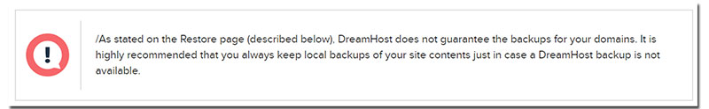 DreamHost does not back up customer websites