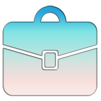 briefcase with light blue and light pink hues depicting a portfolio of projects